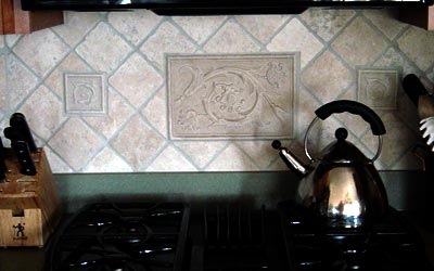 Large Roma Stone (8x12), with leaves, focal point in center wall