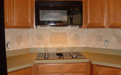 Lovely Love My Home Tumbled Stone Backsplash