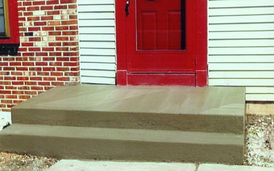 Finished concrete stairs, front view