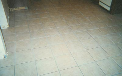 Ceramic tile spaced and placed, pre-grout
